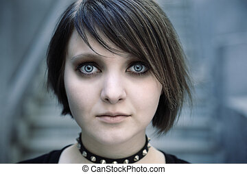 gothic girl - emo or goth young woman, natural light,...