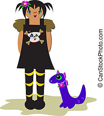 Gothic Girl with Purple Dragon