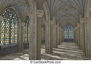 Gothic hall interior 3d illustration