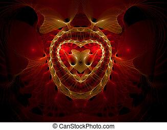Gothic heart - Illustration, computer-generated, fractal art