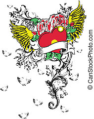 Gothic heart tattoo design for your label