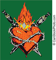 gothic heart tribal design