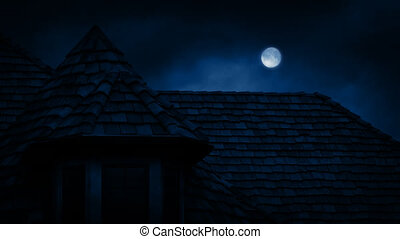 Gothic House Roof With Full Moon - Gothic rooftop of old...