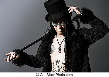 Gothic image - Gothic man in black coat and top-hat over...