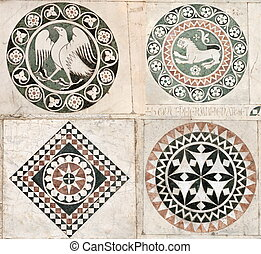 Gothic inlaid marble ornaments - Inlaid marble ornaments on...
