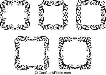 Gothic Leafy Frames - A set of gothic decorative leafy...