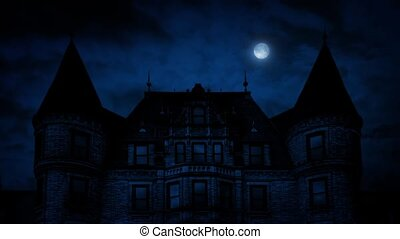 Gothic Mansion House At Night - Large imposing Gothic...
