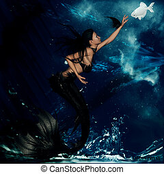Gothic Mermaid - Gothic mermaid with oceanic background