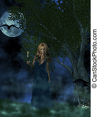 Gothic Night - Blonde haired woman holding candle outside...