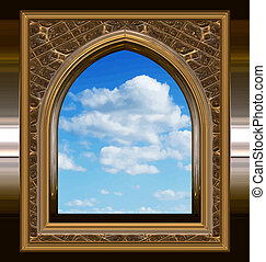 image of a gothic or science fiction window looking onto cloudy blue sky