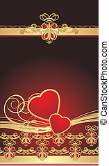 Gothic ornament with hearts. Wrapping. Vector illustration