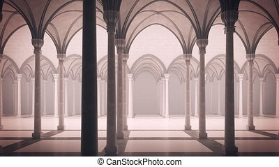Gothic palace with an inner courtyard. - luma matte for...
