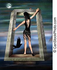 Gothic Princess in a Surreal Dreamscape