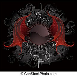 Gothic round banner with the red wings dragon - Gothic round...