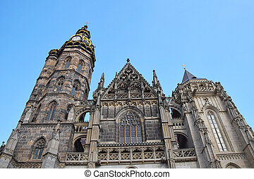 Gothic St Elisabeth Cathedral in Kosice, Slovakia - Low...