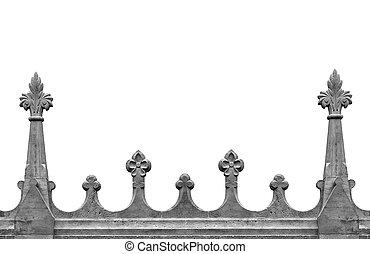 Gothic stone fence.