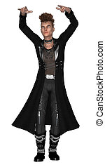 3D digital render of a young man wearing gothic style clothes isolated on white background