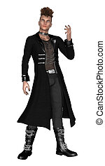 3D digital render of ayoung man wearing gothic style clothes isolated on white background