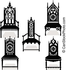 Gothic style chairs set