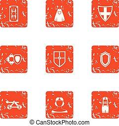 Gothic style icons set, grunge style - Gothic style icons...