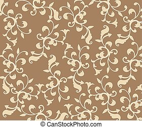 Gothic style vintage floral pattern in beige. Vector