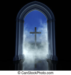 Religion abstract - Gothic temple and cross. Religion ...