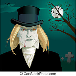 Gothic Vampire - Blonde vampire in a top hat grins as blood...