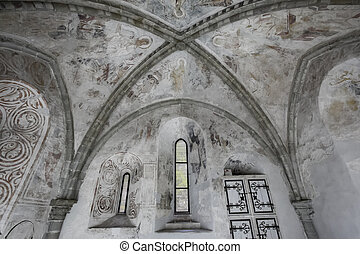 Gothic vault, interior structure at Chillon castle - Veytaux, Switzerland