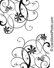 gothic vine - Gothic grunge floral design in black and white
