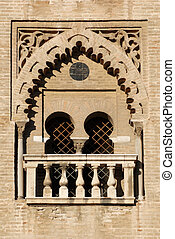 Gothic window in the medieval cathedral of Sevilla, Spain