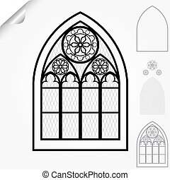 Gothic Windows Of Cathedrals And Castles With Roses Elements Line