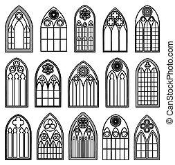 Gothic Window Silhouettes - Set of design gothic window...