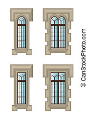 Gothic windows set - Set of gothic windows with stone...