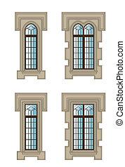 Gothic windows set - Set of gothic windows with stone ...