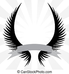 Gothic looking angel wings crest with a banner ribbon isolated over a silver rays background.