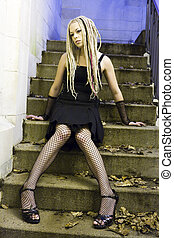 Gothic Woman Sitting on Steps