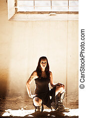 Gothic woman under raylight - Gothic young girl under ...
