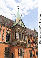 Gothic Wroclaw Old Town Hall on market square, facade, Wroclaw, Poland.