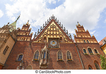 Gothic Wroclaw Old Town Hall on market square, Wroclaw, Poland