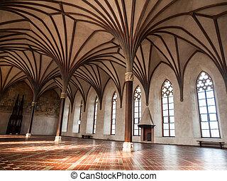 gothich, aartsen, kasteel, zaal