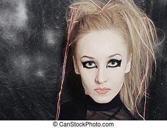 clair femme gothique jeune maquillage femme photo de stock rechercher photographies. Black Bedroom Furniture Sets. Home Design Ideas