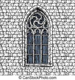 Fen tre gothique silhouettes ensemble fen tre for Fenetre gothique