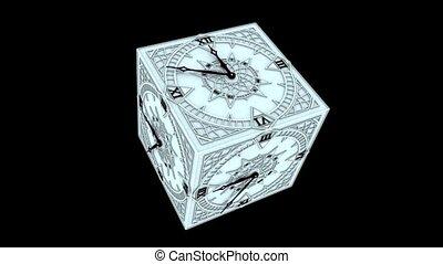 gothique, horloge, cube, compte rebours