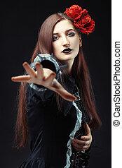 gothique, portrait, de, a, girl.