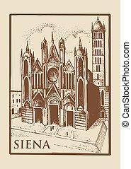 Gotical church in Siena, Tuskany, Italy old looking vintage...