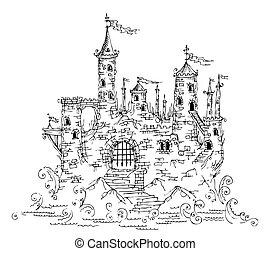 gotisch, kasteel, van, fairytale, iv