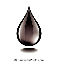 gotita, aceite, aislado, vector, negro, blanco