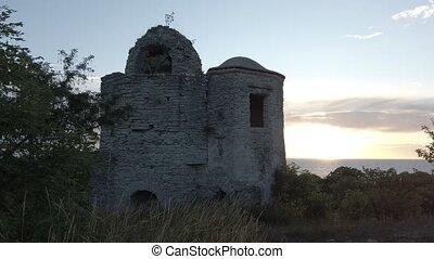 gotland, исторический, закат солнца, здание, швеция, в течение, старый