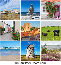 Gotland, Sweden. Nature and architecture. Collection of 9 ...
