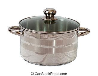 gotowanie, biały, odizolowany, saucepan.